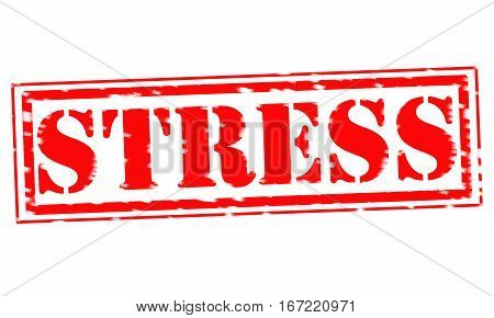 STRESS Red Stamp Text on white backgroud