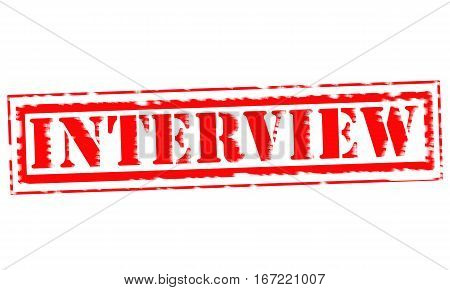 INTERVIEW Red Stamp Text on white backgroud