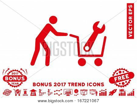 Red Tools Shopping pictogram with bonus 2017 year trend icon set. Vector illustration style is flat iconic symbols, white background.