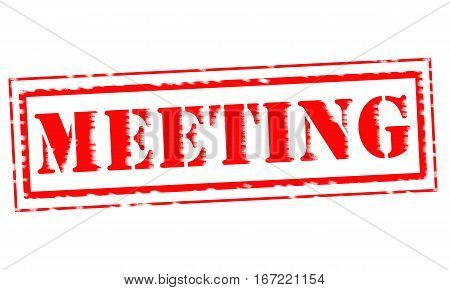 MEETING Red Stamp Text on white backgroud