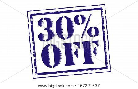 30% OFF blue Stamp Text on white backgroud