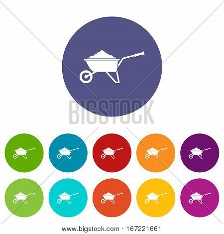 Wheelbarrow loaded with soil set icons in different colors isolated on white background