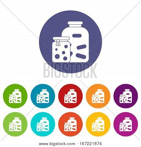 Jars with pickled vegetables and jam set icons in different colors isolated on white background