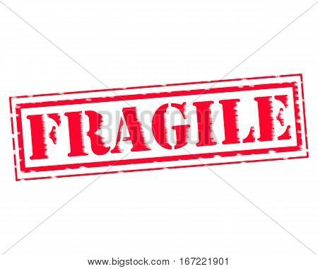 FRAGILE RED Stamp Text on white backgroud