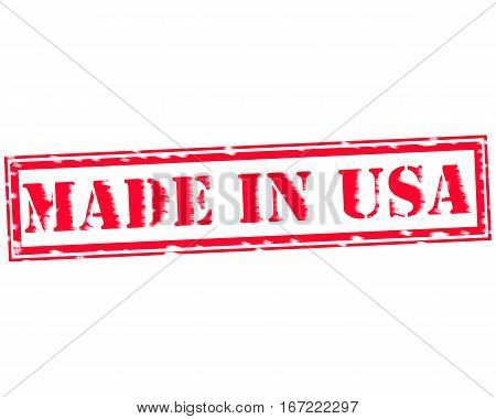 MADE IN USA RED Stamp Text on white backgroud
