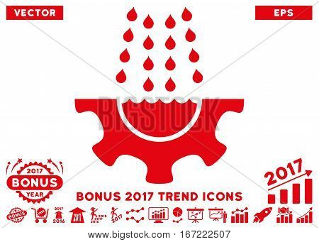 Red Water Shower Service Gear pictogram with bonus 2017 trend design elements. Vector illustration style is flat iconic symbols, white background.