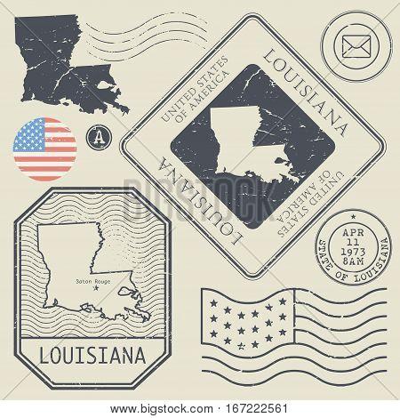 Retro vintage postage stamps set Louisiana United States theme vector illustration