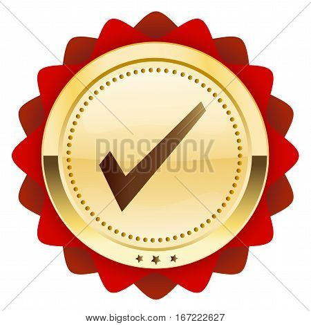 Finest quality seal or icon with hook symbol. Glossy golden seal or button with red color.