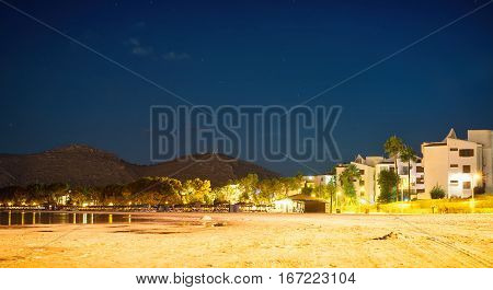 Playa De Muro. Night Beach In Alcudia, Mallorca.