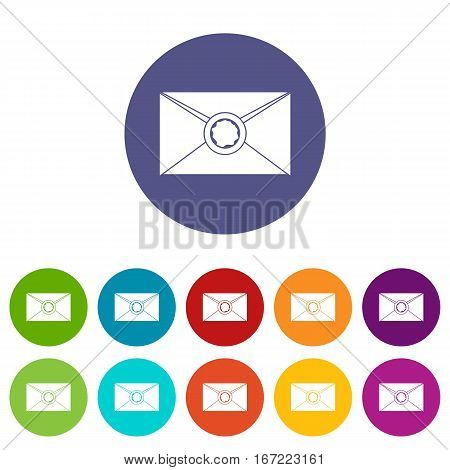 Envelope with red wax seal set icons in different colors isolated on white background