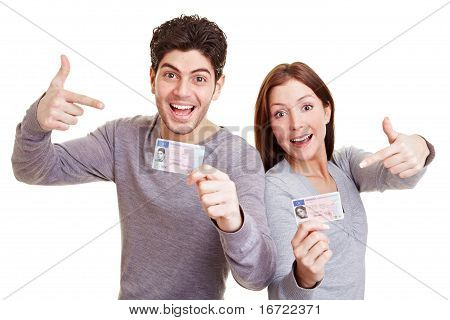 Teens Pointing To Drivers License
