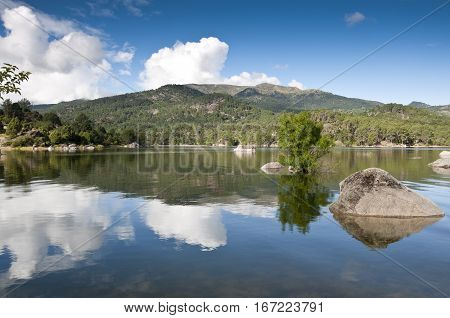 Views of the reservoir of El Burguillo, Avila, Spain. It was opened in 1913 and its waters are for agricultural supply and electricity generation