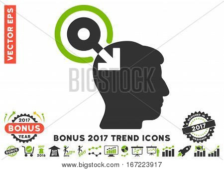 Eco Green And Gray Brain Interface Plug-In icon with bonus 2017 trend symbols. Vector illustration style is flat iconic bicolor symbols, white background.