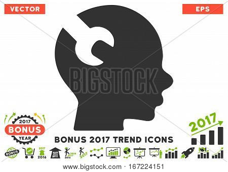Eco Green And Gray Brain Wrench Tool pictogram with bonus 2017 trend pictograph collection. Vector illustration style is flat iconic bicolor symbols, white background.