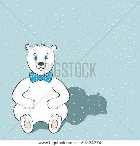 International Polar Bear Day poster. Cute animal with blue bow tie. Snow is in the background. Simple cartoon style. Vector illustration. Usable for design of cards, invitations, posters.