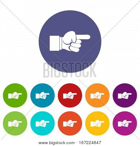 Pointing hand gesture set icons in different colors isolated on white background