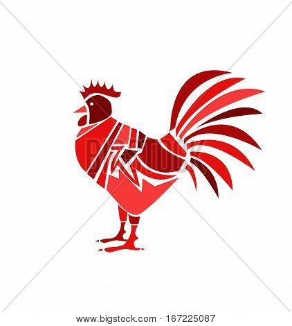 red rooster on white background illustration art