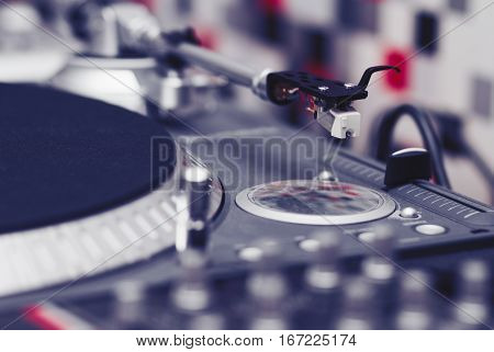 Turntable Vinyl Record Player Closeup