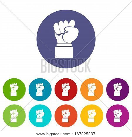 Raised up clenched male fist set icons in different colors isolated on white background