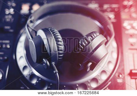 Dj Headphones On Cd Music Player