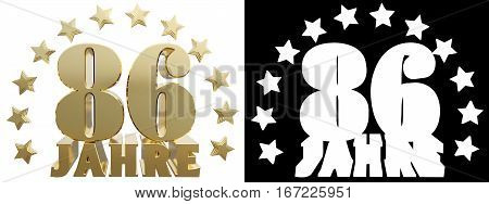Golden eighty six and the word of the year decorated with stars. Translated from the German. 3D illustration