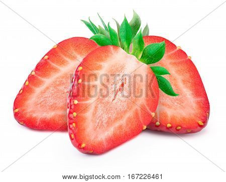 Three perfectly retouched sliced strawberries with leaves isolated on the white backgroun d with clipping path