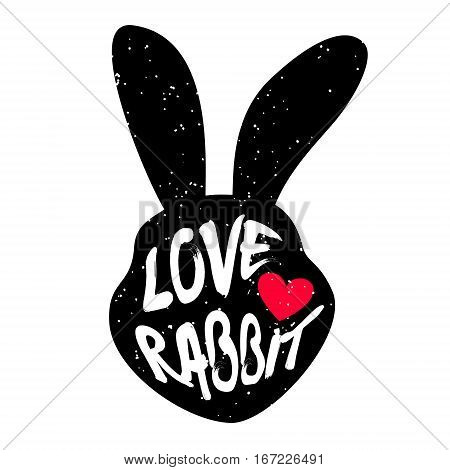 Rabbit head silhouette with inscription and red heart. Lettering text Love rabbit. Vector.