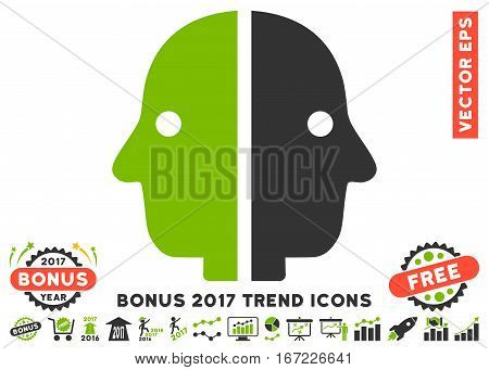 Eco Green And Gray Dual Face pictogram with bonus 2017 trend pictograms. Vector illustration style is flat iconic bicolor symbols, white background.
