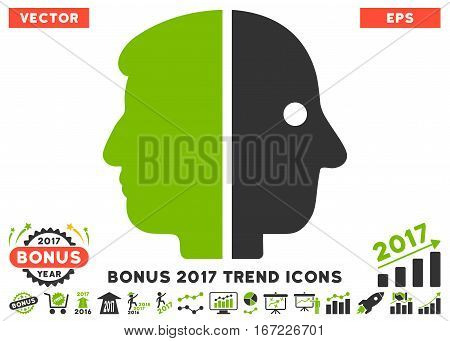 Eco Green And Gray Dual Face icon with bonus 2017 trend symbols. Vector illustration style is flat iconic bicolor symbols, white background.
