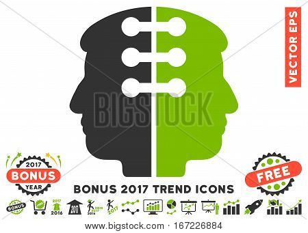 Eco Green And Gray Dual Head Interface pictograph with bonus 2017 year trend icon set. Vector illustration style is flat iconic bicolor symbols, white background.