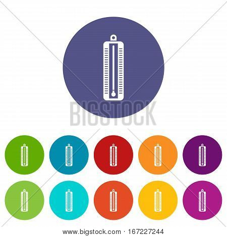 Thermometer indicates low temperature set icons in different colors isolated on white background