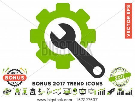 Eco Green And Gray Gear And Wrench icon with bonus 2017 trend icon set. Vector illustration style is flat iconic bicolor symbols, white background.