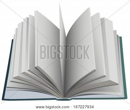 Hardcover open book fan page. Isolated on white vector illustration