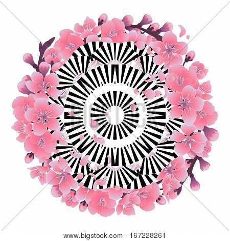 Abstract circle ornament made of contrast striped fans and decorated with pink sakura flowers. Tattoo art or t-shirt design