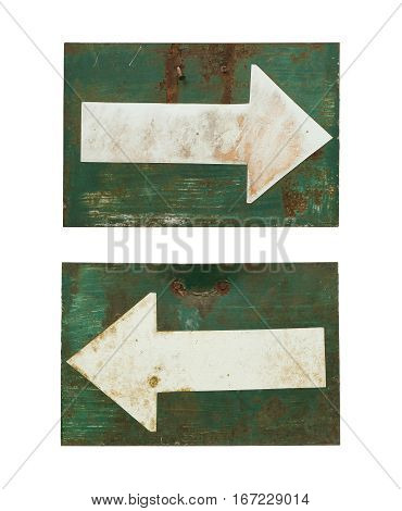 Rusty arrow sign isolated on white background