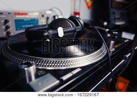 Dj Headphones On Turntable Vinyl Music Record Player
