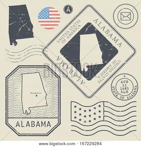 Retro vintage postage stamps set Alabama United States theme vector illustration