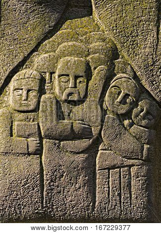 The bas-relief on the stone - people