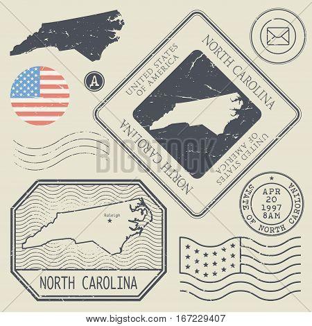 Retro vintage postage stamps set North Carolina United States theme vector illustration
