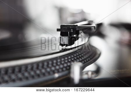 Dj Turntable Vinyl Record Player Close Up