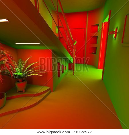 acid modern interior of the privat apartment (3d)
