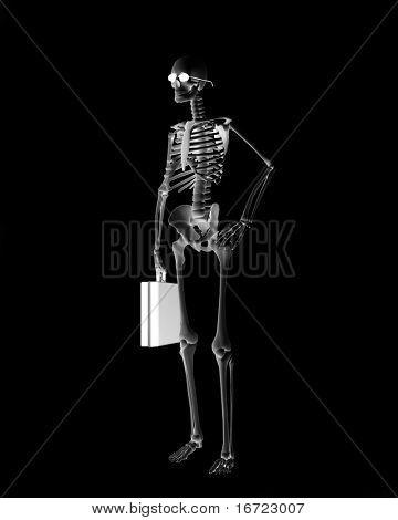 skeletont businessman over the black background (3d)