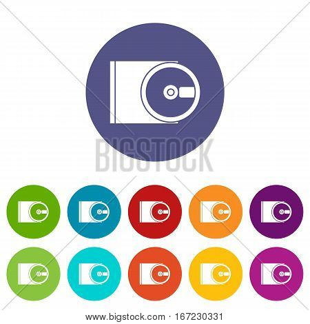 DVD drive open set icons in different colors isolated on white background