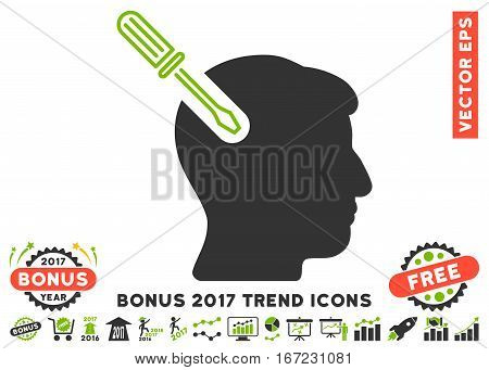 Eco Green And Gray Head Surgery Screwdriver pictogram with bonus 2017 trend design elements. Vector illustration style is flat iconic bicolor symbols, white background.
