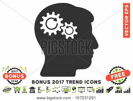 Eco Green And Gray Head Wheels Rotation pictograph with bonus 2017 year trend clip art. Vector illustration style is flat iconic bicolor symbols, white background.