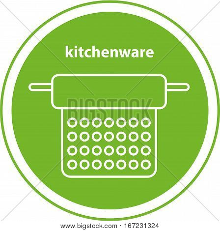 Line icon. Kitchenware. Element of the logo. A colander in the green circle, isolated image