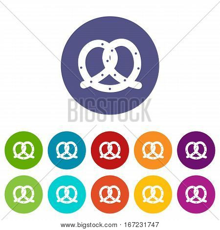 Pretzel set icons in different colors isolated on white background