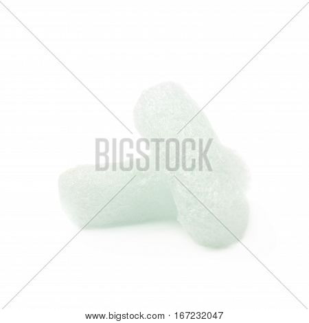 Two bioplastic packing foam peanuts isolated over the white background