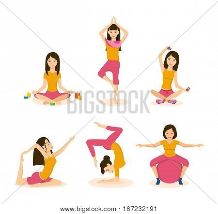 Girls doing yoga and meditation in the lotus position, standing on one leg, in a rack on the hands, pulling the legs to back, making the slopes, turns, with the equipment. Colorful flat illustration.
