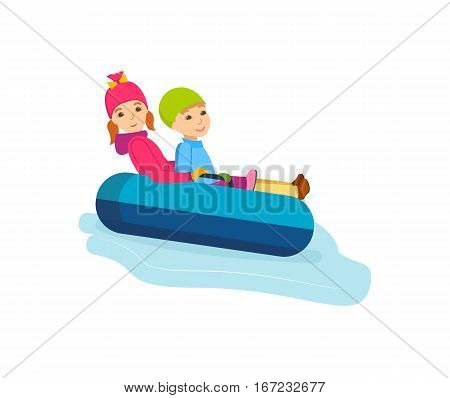 Concept - people and winter sports. Brother and sister a rolling down the mountain slope on inflatable sled-cheesecakes. Vector illustration. Can be used in banner, mobile app, design.